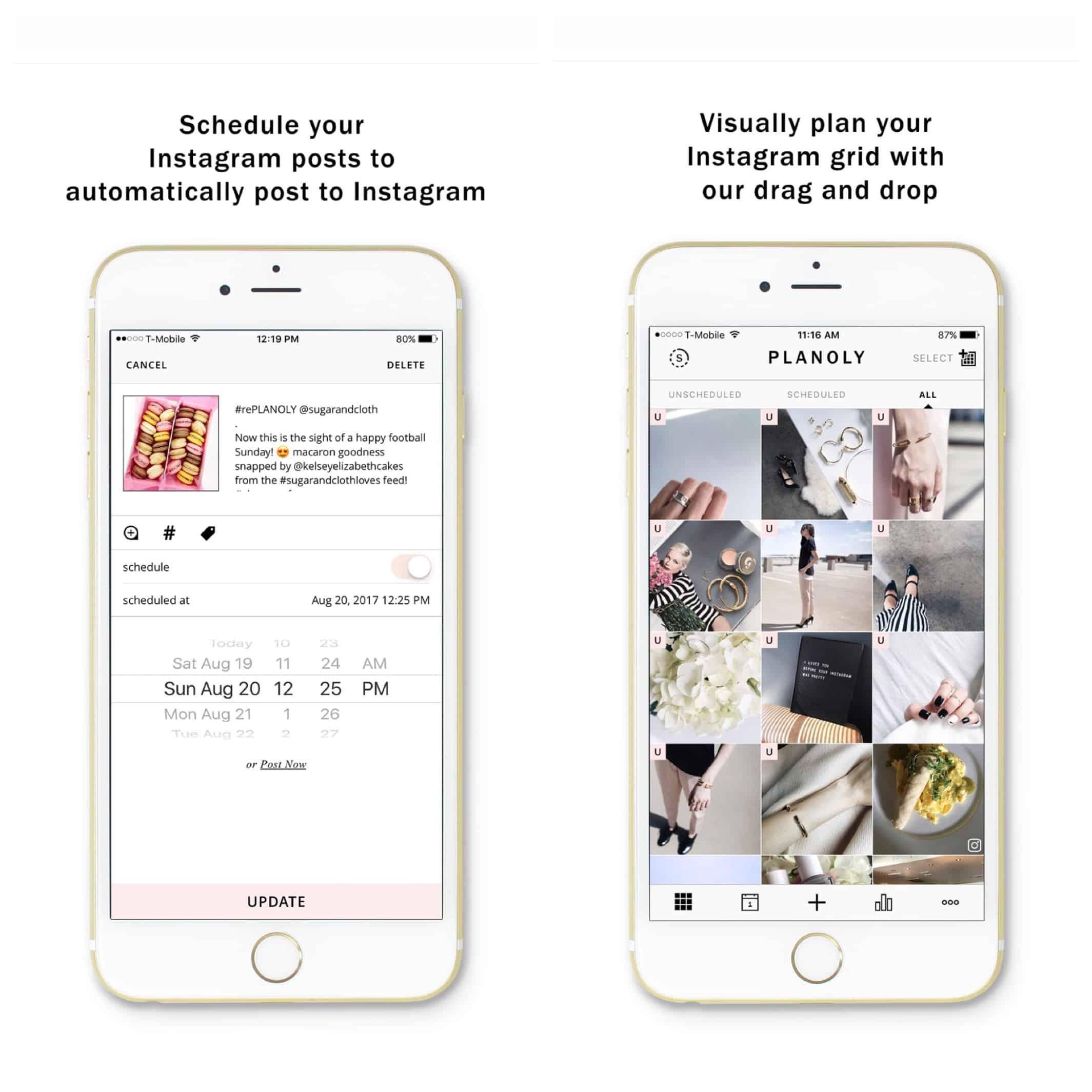 Planoly pour planifier publication Instagram