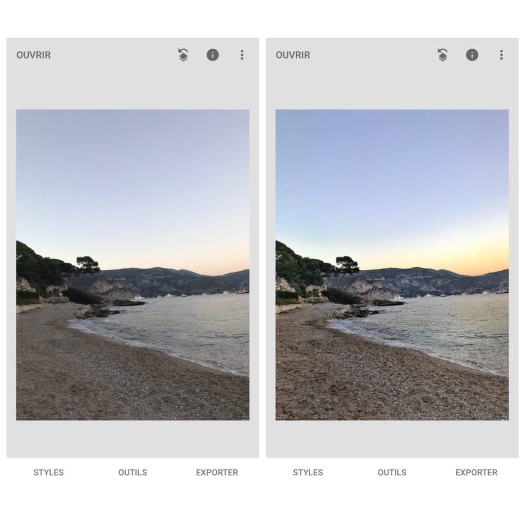 Application Snapseed - avant après photo
